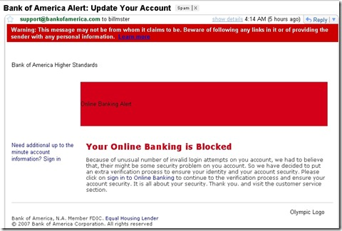 Bank of America email scam