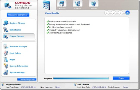Comodo Privacy Cleaner 1