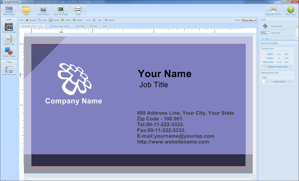 Springpublisher free version design and output business cards and clicking on any element within the template opens an edit input box text image shape in the following example ive just completed work in the address reheart Choice Image