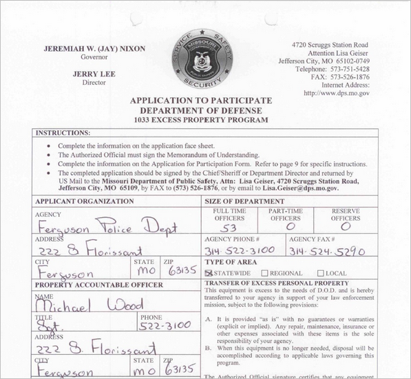 Inventory Of Military Leftovers Secured Since 2007 By The Ferguson Police Department Under Pentagons 1033 Program And Nothing On List Matched
